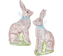 "Set of (2) 9"" Foil Wrapped Bunnies by Valerie - H213770"