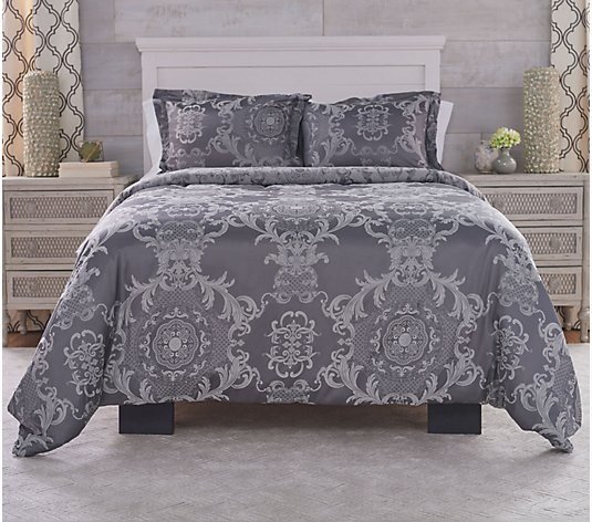 Casa Zeta-Jones Full Jacquard Medallion Duvet Cover with Insert & Shams