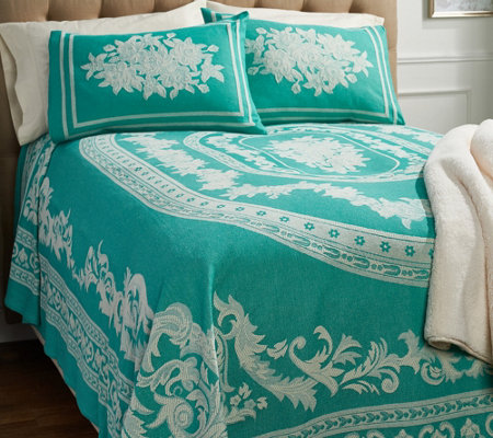 """As Is"" Williamsburg 100% Cotton Jacquard Woven Bedspread"