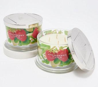 HomeWorx by Harry Slatkin S/2 4-Wick Strawberry Patch Candles - H221570