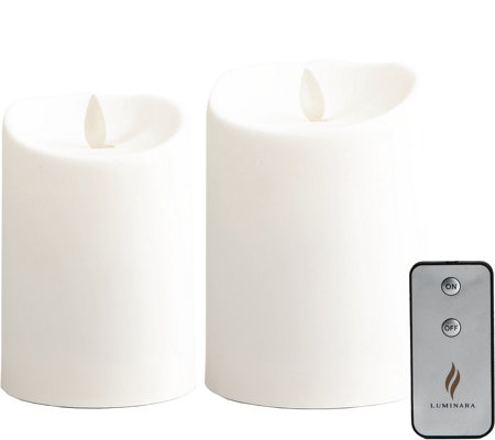 "Luminara Set of (2) 4"" & 5"" Outdoor Candlesw/ Remote"