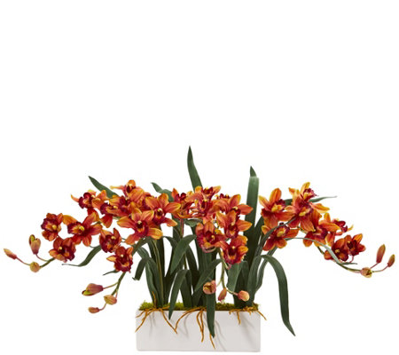 Cymbidium Arrangement In Vase By Nearly Natural