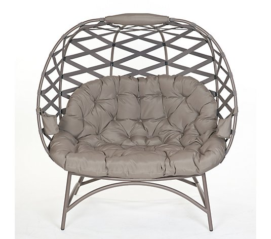 Cozy Pumpkin Chair in Crossweave Sand by FlowerHouse
