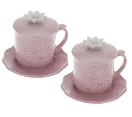 Set of 2 Daisy Teacups with Saucers and Lids by Valerie