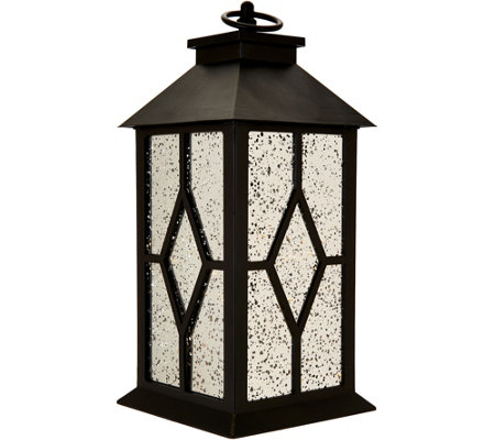 "13"" Illuminated Indoor/Outdoor Vintage Mercury Glass Lantern by Valerie"