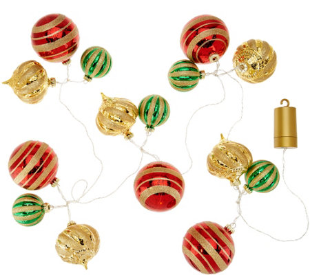 """As Is"" Kringle Express Shatterproof 6' Lit Ornament Custer Garland"