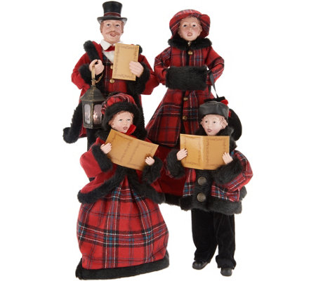 Family of 4 Dickens Victorian Carolers by Valerie