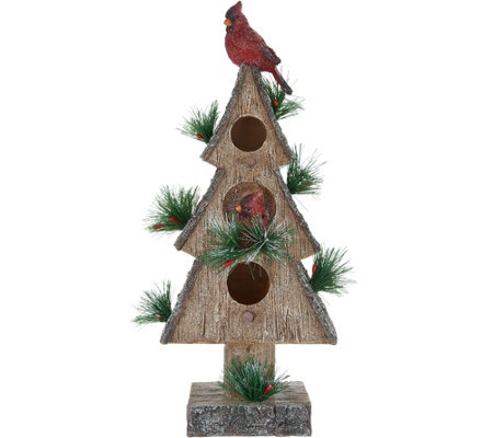 "17"" Birdhouse with Cardinals by Valerie"