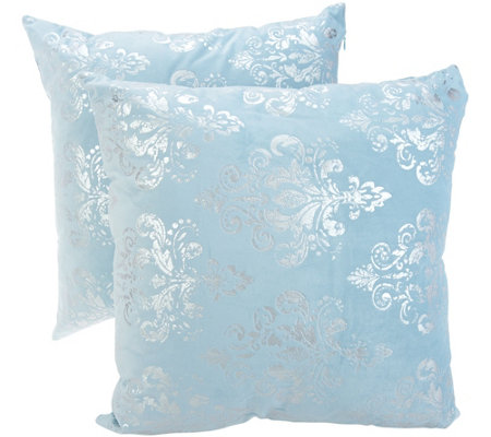 Casa Zeta-Jones Set of 2 Metallic Damask Micro Suede Pillows