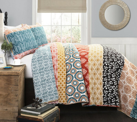 Bohemian Stripe 3-Piece King Quilt Set by LushDecor