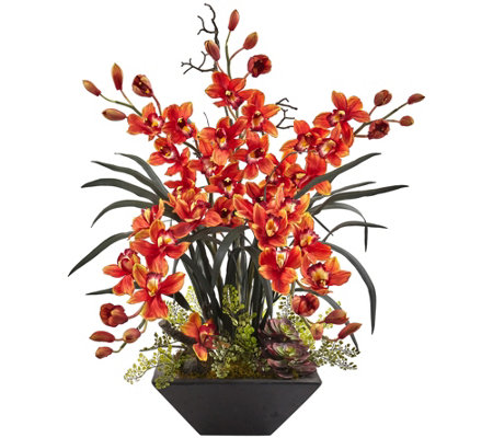 Cymbidium Orchid With Black Vase By Nearly Natural