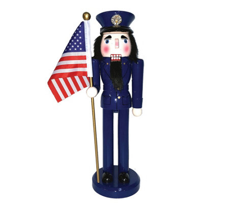 "14"" Air Force Nutcracker with Flag by Santa's Workshop"