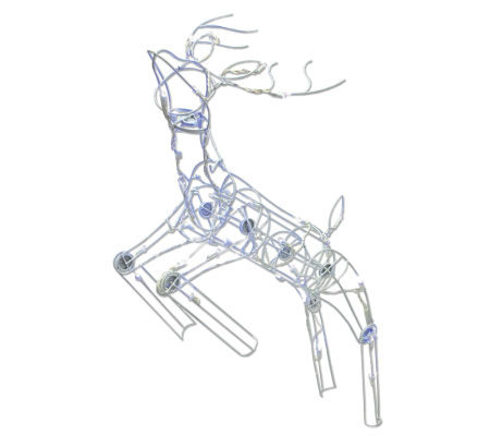 48' Outdoor 60-Light White LED Multi PositionalDeer Sculpture