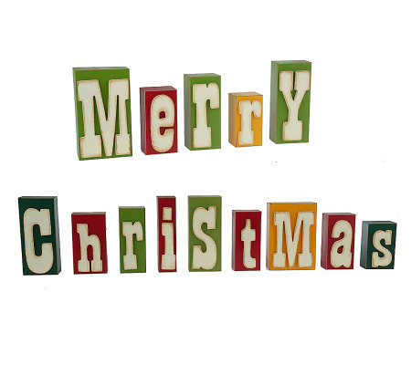 decorative merry christmas raised letter wooden blocks by valerie - Merry Christmas Decorative Blocks
