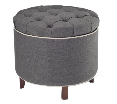 Amazing Tufted Fabric Storage Ottoman With Reversible Tray Top Qvc Com Alphanode Cool Chair Designs And Ideas Alphanodeonline