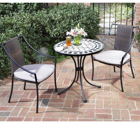 Home Styles Marble Bistro Table & 2 Laguna Slope Arm Chairs
