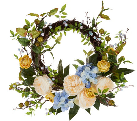 Hydrangea Berry and Rose Wreath