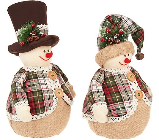 Set of 2 Snowmen with Hats and Plaid Coats by Valerie