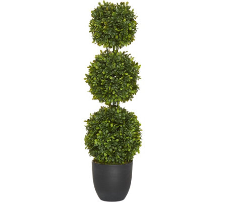 "34"" Boxwood Triple Ball Topiary Potted Plant by Valerie"