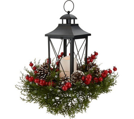 Berry, Pinecone and Cedar Centerpiece with Lantern by Valerie