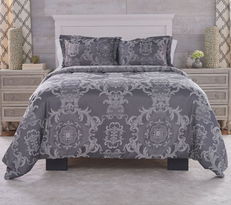 Casa Zeta-Jones King Jacquard Medallion Duvet Cover with Insert & Shams
