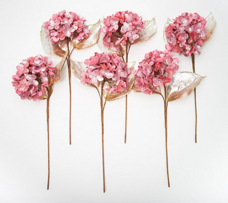 Set of 6 Metallic Hydrangea Blossom Stems by Valerie