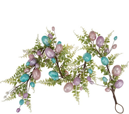 """As Is"" 4' Metallic Wrapped Foil Egg Garland by Valerie"