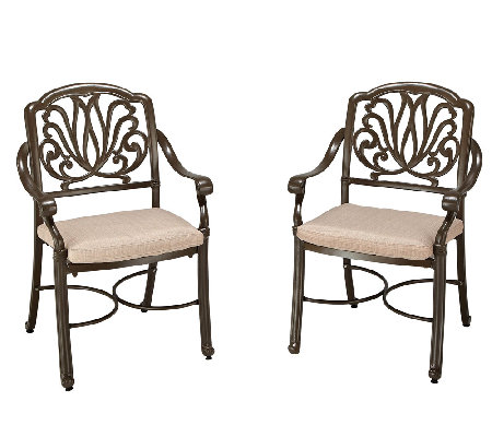 Home Styles Floral Blossom Taupe Arm Chair - Set of 2