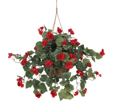 Begonia Hanging Basket by Nearly Natural