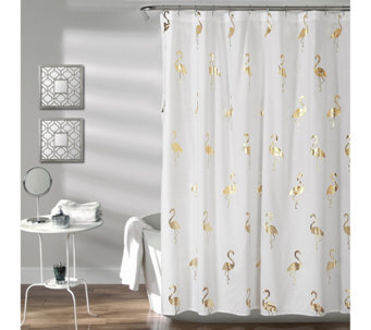 Flamingo Shower Curtain Gold By Lush Decor