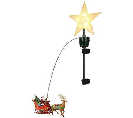 Mr Christmas Animated Santa S Sleigh Tree Topper Qvc Com