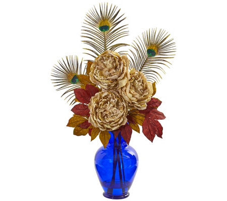Peony Arrangement In A Blue Vase By Nearly Natural