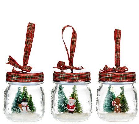Set of 3 Jolly Jar Ornaments with Gift Bags by Valerie