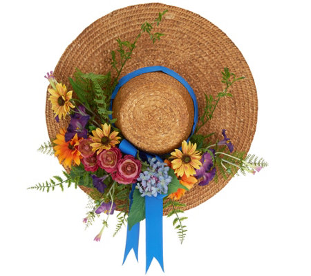 Decorative Straw Hat with Flowers by Valerie