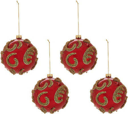 Set of 4 Glass Ball Ornaments with Beading by Valerie