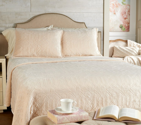 Casa Zeta-Jones Quilted Velvet Queen Coverlet with Shams
