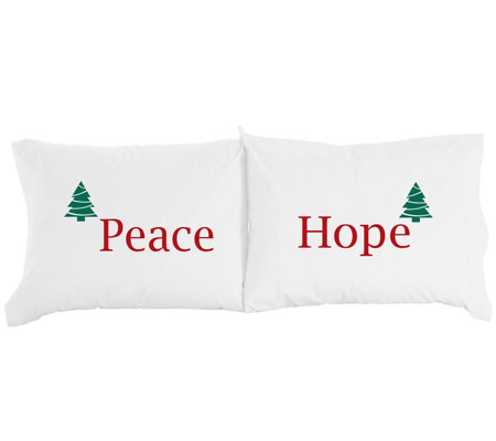 Shavel Micro Flannel Peace Hope Print Pillowcase Pair