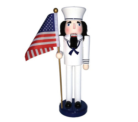 "14"" Navy Nutcracker with Flag by Santa's Workshop"