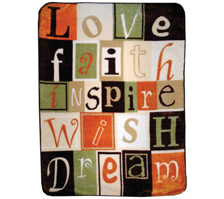 "Shavel Hi Pile 60"" x 80"" Love Faith Inspire Luxury Throw"