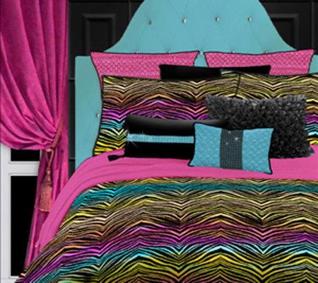 Veratex Rainbow Zebra Queen Comforter Set