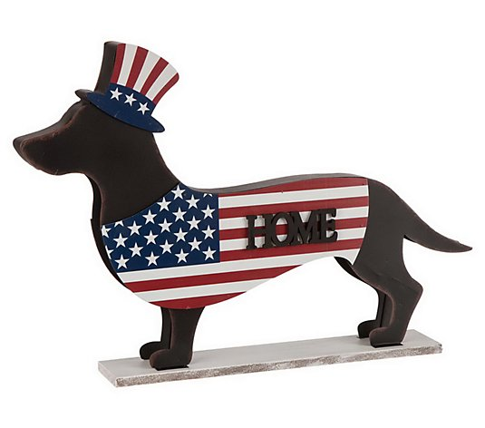 Glitzhome Patriotic Double Sided Dachshund Welcome Home Decor Qvc Com