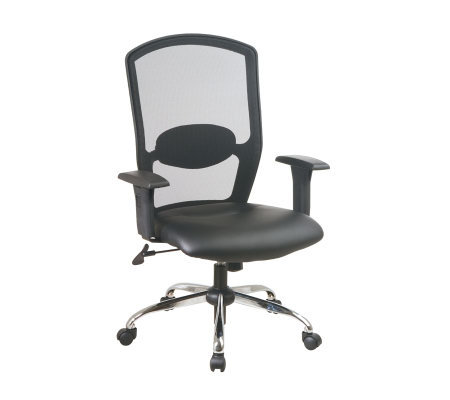 Office Star Black Screen Back Executive Chair w/Leather Seat