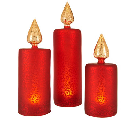 Set of 3 Lit Frosted Vintage Mercury Glass Candles by Valerie