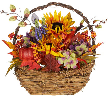 "16"" Decorative Harvest Basket With Flowers by Valerie"
