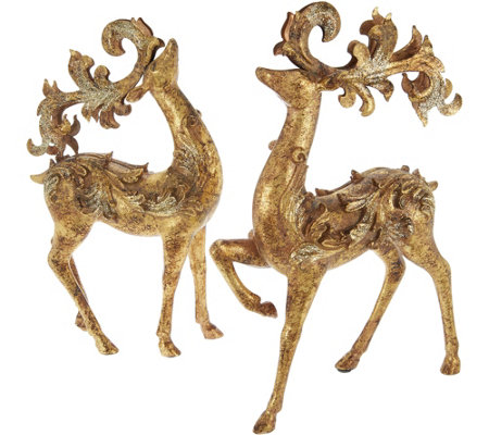 Set of 2 Standing Deer with Scrolled Antlers by Valerie
