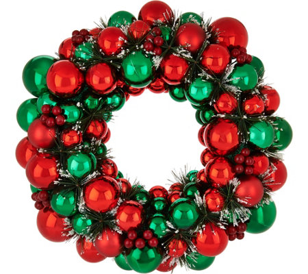 "18"" Ornament Wreath with Pine and Berry Accents by Valerie"