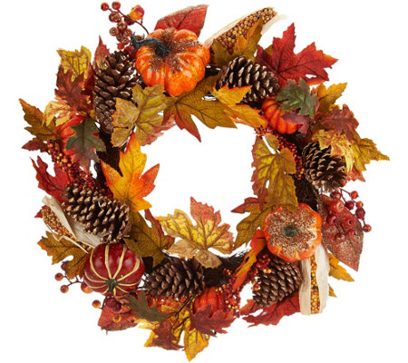 "24"" Beaded Pumpkin, Corn, and Pinecone Wreath"