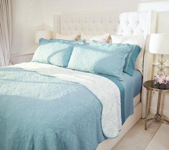 casa zeta jones reversible full cotton coverlet set w scalloped edge h216074 - King Bedding