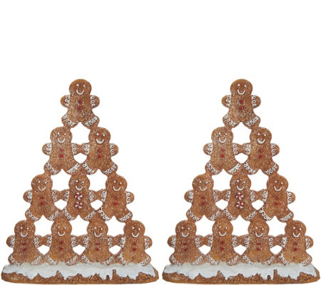 """As Is"" S/2 8"" Gingerbread Cookie Pyramids by Valerie"