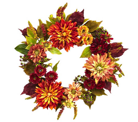 "22"" Dahlia & Mum Wreath by Nearly Natural"